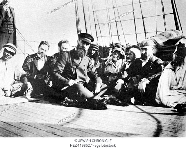 Theodor Herzl (1860-1904), Writer and statesman with the members of the delegation on board ship during their journey to Palestine