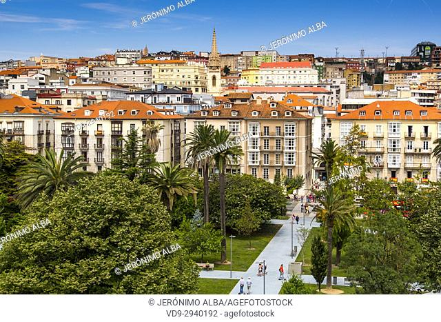 Cityscape. Panoramic view of Santander, Cantabrian Sea, Cantabria, Spain, Europe