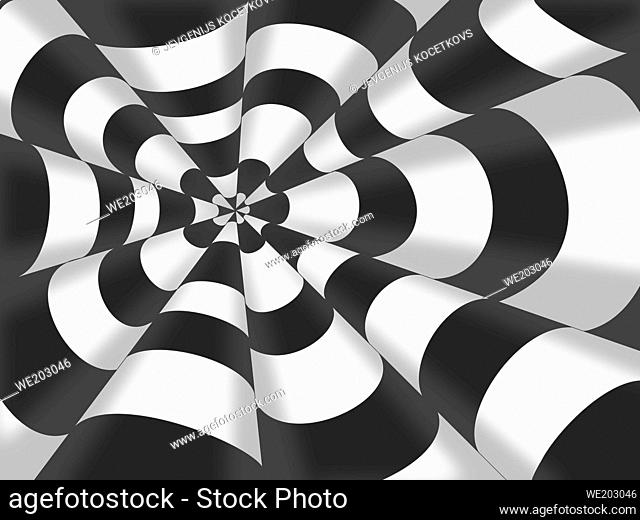 3d drawing of striped cones. Volumetric pattern of black and white striped cones. Geometric abstract pattern
