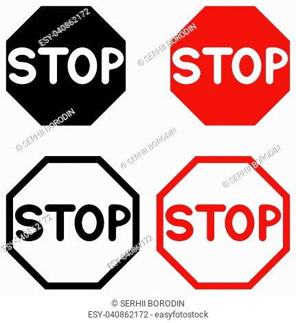 Symbol stop black and red color set
