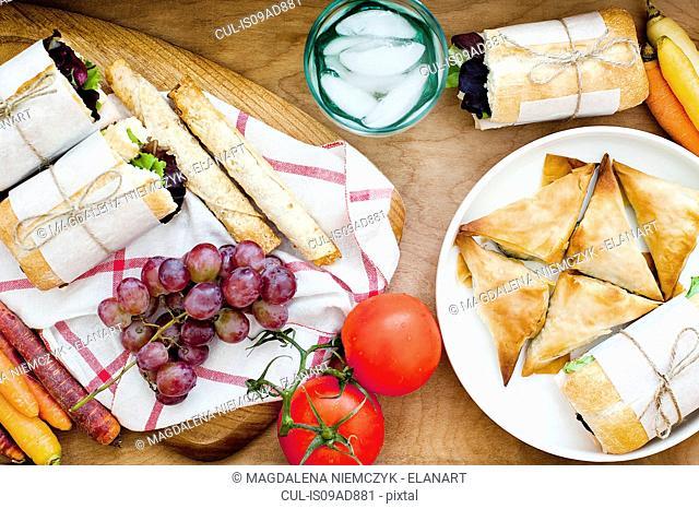 Ciabatta, puffs and fruits
