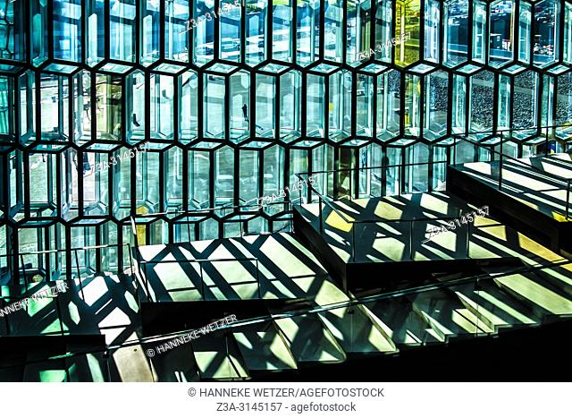 Harpa Concert Hall and Conference Centre in Reykjavic, Iceland. Designed by the Danish firm Henning Larsen Architects in collaboration with Danish-Icelandic...