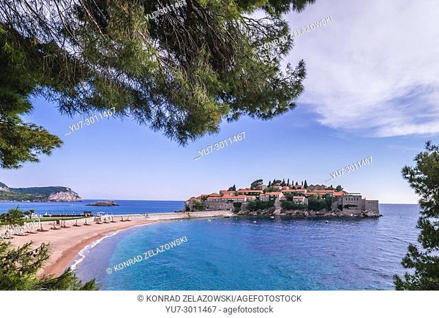 Small island of Sveti Stefan and five star Aman Sveti Stefan hotel resort on the Adriatic coast of Montenegro