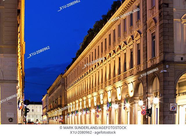 The Colonnaded Via Roma at Dusk Turin Piedmont Italy