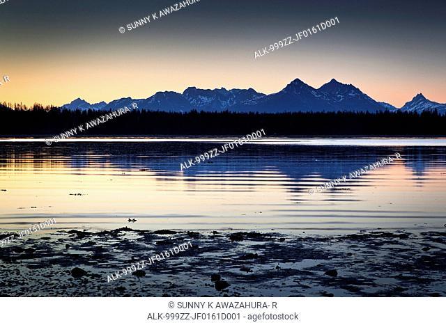 Scenic sunset view of Bartlett Cove, Glacier Bay National Park & Preserve, Southeast Alaska, Summer