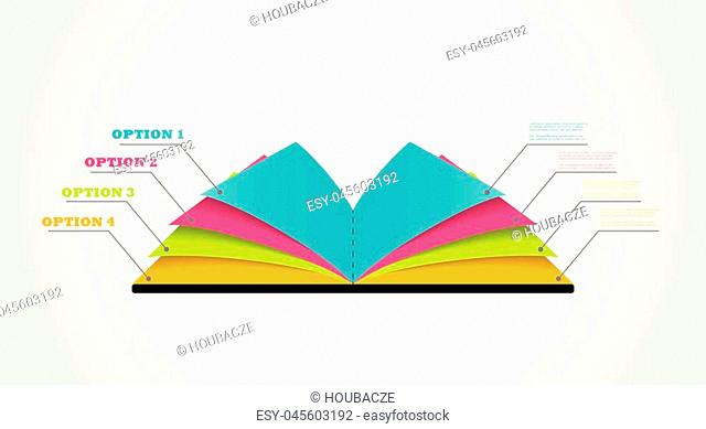 four step vector book infographic template