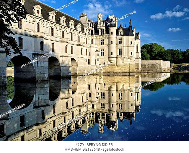 France, Indre et Loire, Chenonceau Castle and the Cher river