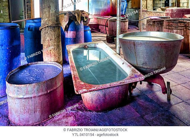 Dyeing Workshop in the Baskal Kelaghayi Silk Centre, Basqal, Azerbaijan. The kelaghayi is the traditional azeri silk scarf