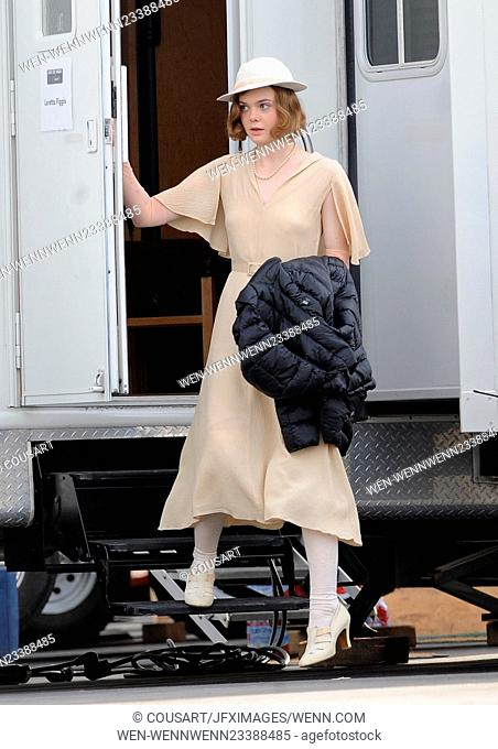 "Actress Elle Fanning gets into character with vintage 1920's attire for a scene in """"Live By Night"""" filming in downtown Los Angeles with co star Ben Affleck"