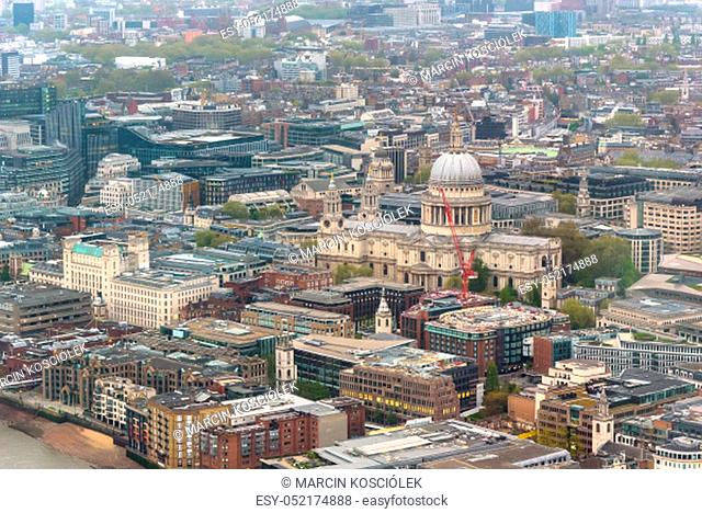Aerial view of St Pauls Cathedral in London, UK