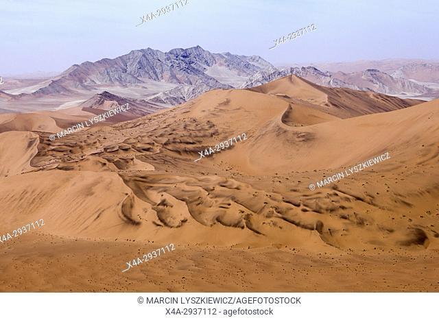 View on dunes and mountains of Namib desert, Soussuvlei, Namib-Naukluft National Park, Namibia