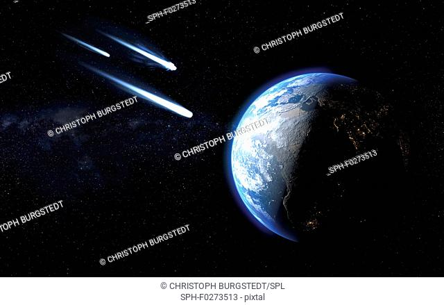 Three icy comets passing by planet Earth, illustration
