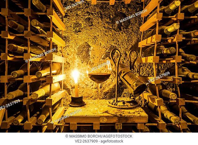 Italy, Campania, Ischia . Ischia Island - Ischia Porto. Perrazzo Vini d'Ischia (wine producer), the wine cellar