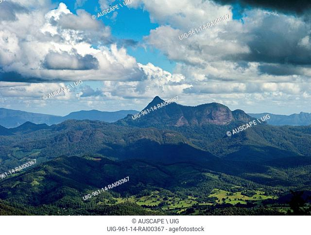 Mount Warning in Wollumbin National Park, from the Best of All Lookout in Springbrook National Park, Queensland, Australia. (Photo by: Auscape/UIG)