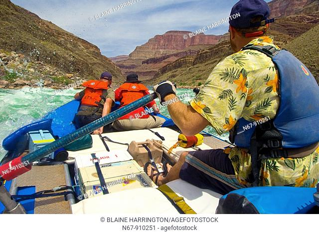 Whitewater rafting, Rapids on the Colorado River in Grand Canyon, Grand Canyon National Park, Arizona USA