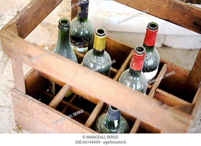 Crate of empty wine bottles