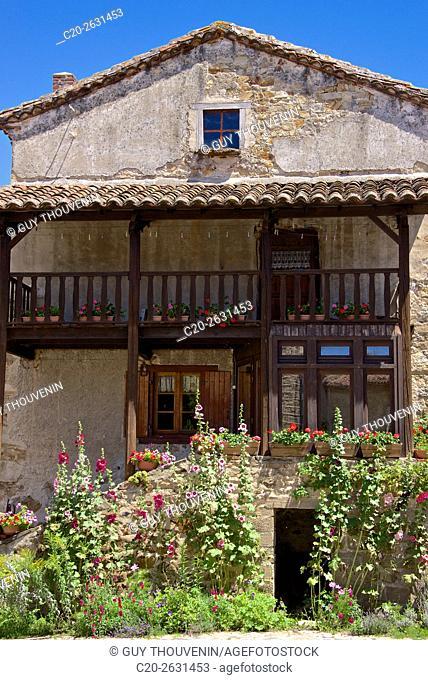 Wine growers stone houses, Lavaudieu, medieval village, 43, Auvergne, Haute Loire, France