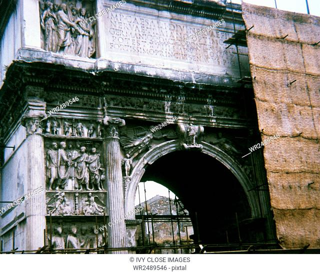 This photo, taken in 1970, shows the Arch of Trajan at Benevento (Beneventum) in southern Italy when it was under construction