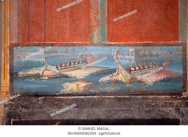 Italy, Naples Museum, from Pompeii, Isis Temple, Naumachia, Representation of a Naval Battle