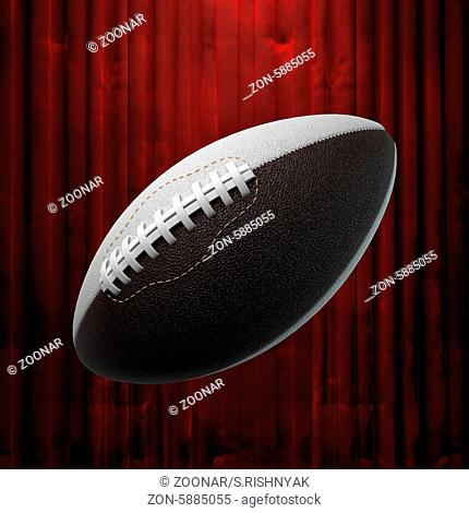 american football and red curtain