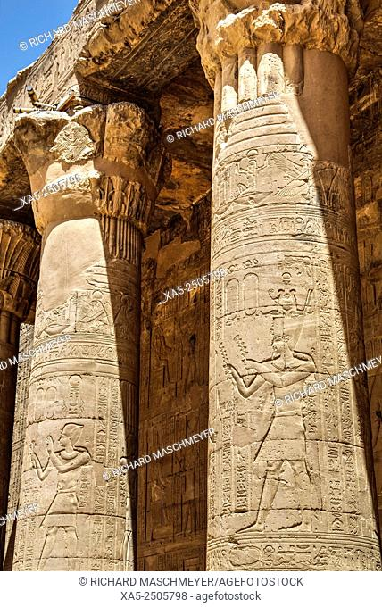 Columns in the Hypostyle Hall, Temple of Horus, Edfu, Egypt