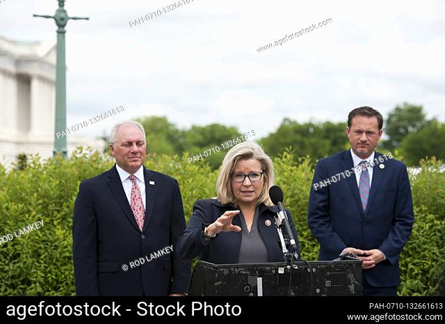 House GOP Conference Chairwoman Liz Cheney (R-WY) offers remarks as she is joined by House Minority Leader Rep. Kevin McCarthy (R-Calif