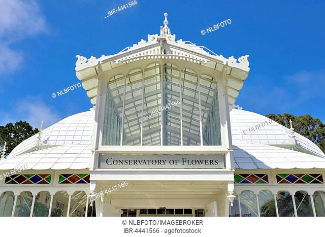 Entrance to Conservatory of Flowers, Victorian style, Golden Gate Park, San Francisco, California, USA