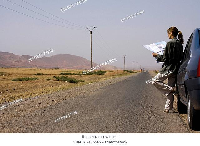 Woman road Morocco