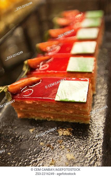 Dessert with orange and carrot in pastry shop, Istanbul, Turkey, Europe