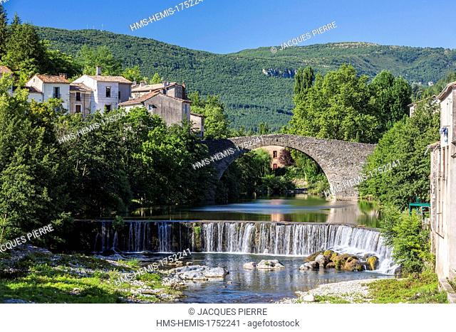 France, Gard, Cevennes National Park, Le Vigan, bridge the Vieux Pont of the 12th 13th century over Arre River