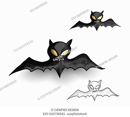 Halloween monsters spooky vampire bats isolated set
