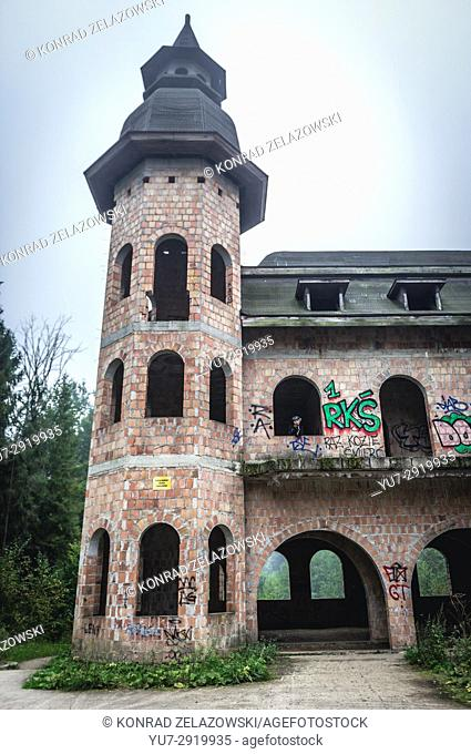 One of 12 towers of unfinished castle, unofficial tourist attraction in Lapalice village, Kashubia region in Poland. Building of castle began in 1979