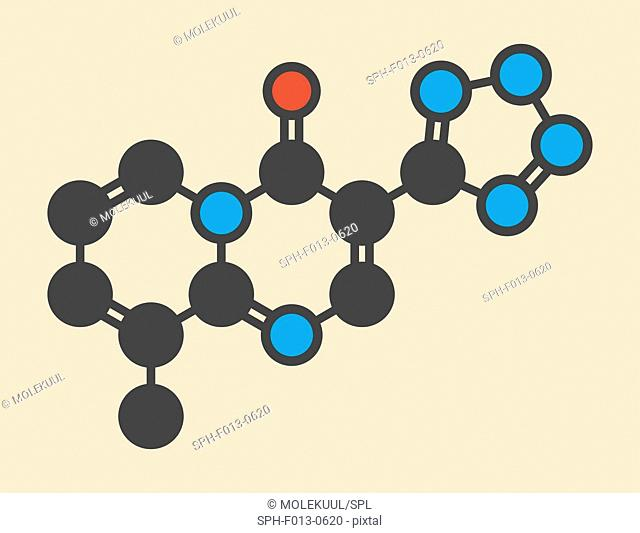 Pemirolast eye allergy drug molecule. Stylized skeletal formula (chemical structure). Atoms are shown as color-coded circles: hydrogen (hidden), carbon (grey)