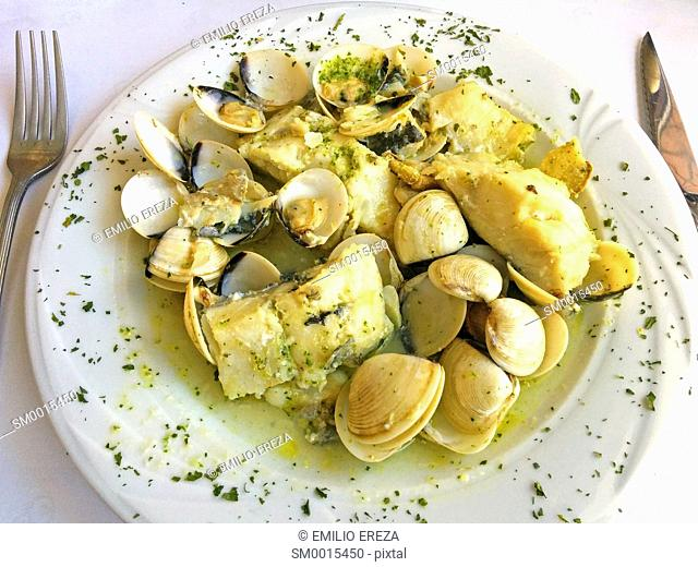 Codfish with clams