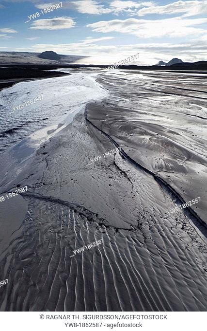 Black sands of Maelifellssandur, Central Highlands, Iceland  Black sand desert area north of the glacier Myrdalsjokull