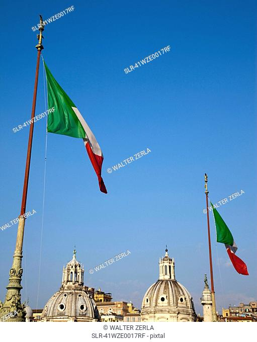Italian flags and ornate domes