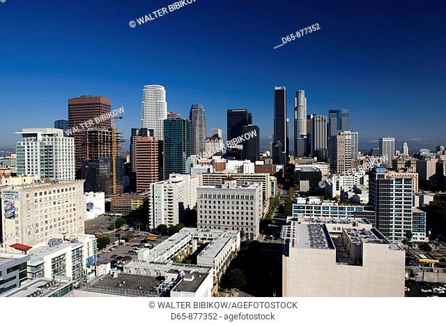 Aerial view of downtown from West 11th Street in the morning, Los Angeles, California, USA
