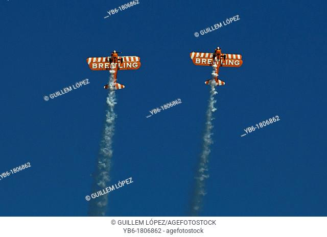 British Breitling wingwalkers team performing at 'La Festa del Cel' air show of Barcelona, Spain
