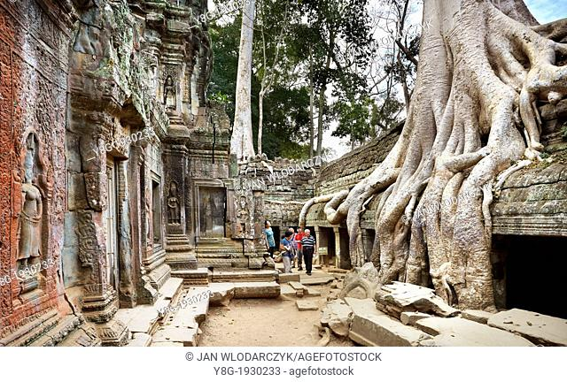 Angkor Temples Complex - tourists exploring ruins of Ta Prohm Temple, Angkor, Siem Reap Province, Cambodia, Asia, UNESCO
