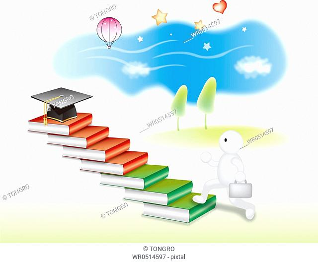 Charater Going Towards Gradution Cap On Top Of Book Stairs