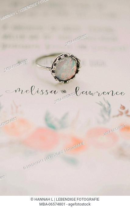 Alternative wedding, invitation, ring