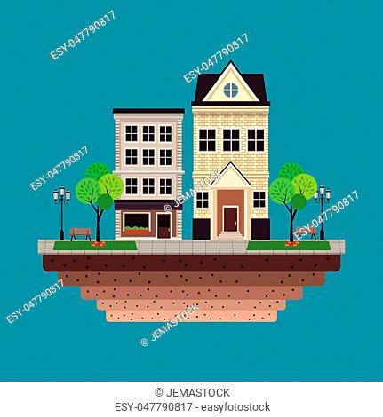 house building residential urban blue background vector illustration eps 10