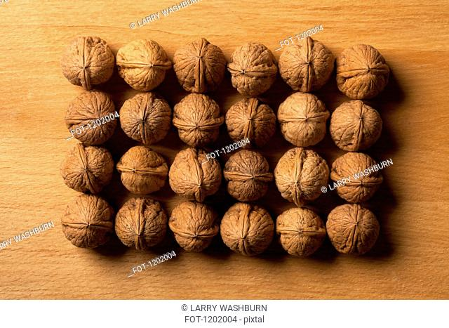 Rows of walnuts