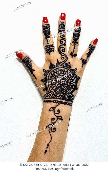 Woman hand with Henna tattoo, Casablanca, Morocco