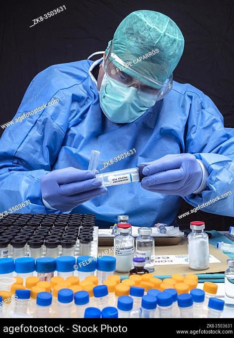 Scientist Investigates Medical Treatment for Covid-19 Coronavirus in Hospital, Spain