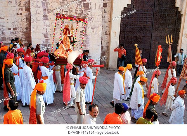 Procession of raj Gangaur (Royal Gangaur) inside Mehrangarh fort ; Jodhpur ; Rajasthan ; India