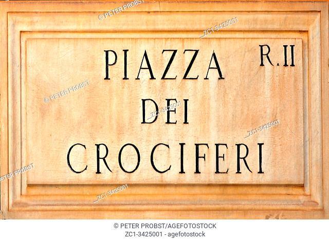 Street sign the Piazza dei Crociferi in Rome - Italy