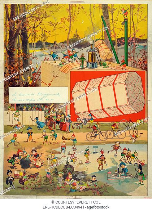 Printfeaturing caricatures playing, titled: 'The Brownie's Playground', print by Thomas & Wylie, June 11, 1896