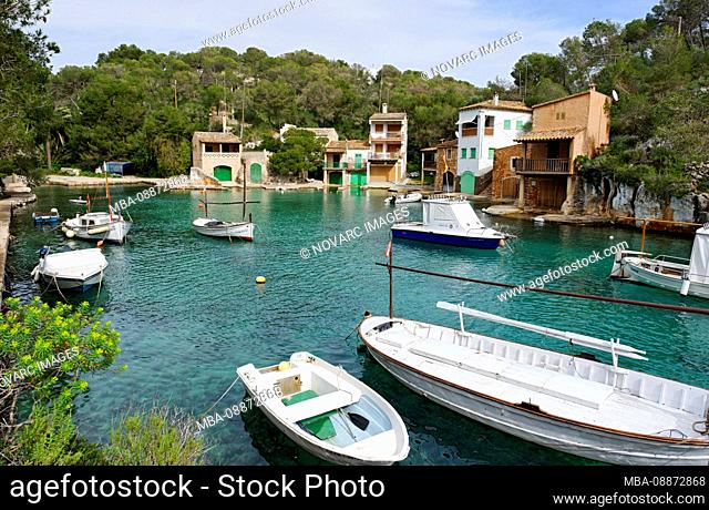 Boats and yachts in the bay, Cala Figuera, Mallorca, Balearic Islands, Spain, Europe