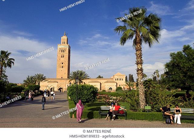 Morocco, Marrakesh, imperial city, medina listed as World Heritage by UNESCO, Koutoubia mosque, minaret and et Mamounia garden